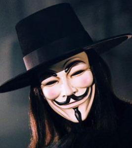 Le fameux masque de Guy Fawkes.