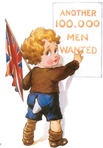 Carte postale  britannique enfant recrutant