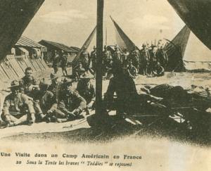 Carte postale  française  1917 Camp américain