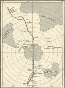 Les bases secrètes allemandes furent établies près de l'entrée du fameux tunnel passant sous le continent Antartique. Cette carte  fut tenue secrète jusqu'à tout récemment...une fuite!