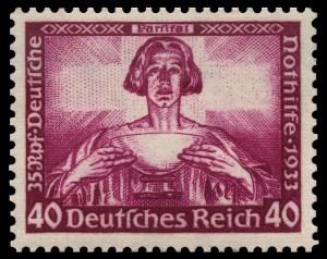 Timbre allemand de 1933,lors  de l'arrivée du Führer au pouvoir,illustrant la quête du Saint-Graal.