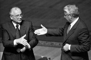 La poignée de main qui sonna le glas de l'Union Soviétique...entre Gorbatchev et Boris Elsine.