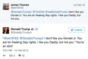 Étonnamment, l'aîné des fils Trump a fait entendre son soutien au mariage gay… ce qui n'a pas manqué de faire réagir les supporters de son père…