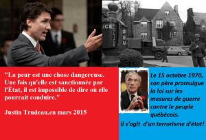 Le 15 octobre en soirée, alors que l'armée est dans la rue, le gouvernement du Québec rejette les conditions du FLQ et offre la libération conditionnelle de cinq prisonniers politiques et permet aux ravisseurs de quitter le pays. Bourassa demande à Ottawa d'invoquer la Loi sur les mesures de guerre.  Le lendemain, pour la première fois au pays, le premier ministre du Canada, Pierre Elliot Trudeau, proclame la Loi sur les mesures de guerre en temps de paix.  La Loi est invoquée pour cause « d'insurrection appréhendée ». Les libertés civiles sont suspendues et le FLQ est mis hors la loi. Le gouvernement adopte un décret permettant aux forces de l'ordre d'arrêter toute personne soupçonnée d'avoir des liens avec le FLQ. Environ 450 personnes sont arrêtées et près de 36 000 perquisitions sont effectuées. Cette loi permissive laisse place à de nombreuses arrestations abusives et injustifiées. Ceux et celles qui n'ont pas connu le père de Justin  Trudeau et qui ont osé voter pour ce parti corrompu,dépèchez-vous de lire l'histoire du Québec et du  Canada avant que le système politique néolibéral ne se met à détruire ces livres essentiels à connaître!