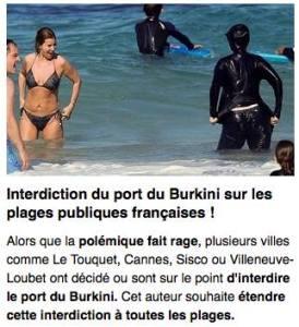 """Couillon Couillard afin de démontrer que les """"natifs"""" du Québec sont très coopératifs en matière d'accommodement va passer une loi bannissant le bikini sur les plages et piscines du Québec et rendre obligatoire le port du burkini pour toutes les femmes de plus de 12 ans.. Ainsi, les mahométanes se sentiront pleinement intégrées à la société d'accueil..."""