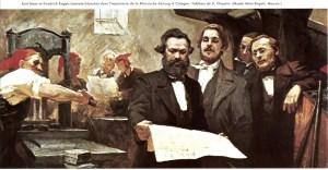 Friedrich Engels et Karl Marx dans une imprimerie en Allemagne.