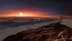 """A hand out image made available by the European Southern Observatory on August 24 2016, shows an artist's impression of a view of the surface of the planet Proxima b orbiting the red dwarf star Proxima Centauri, the closest star to the Solar System. The double star Alpha Centauri AB also appears in the image to the upper-right of Proxima itself. Proxima b is a little more massive than the Earth and orbits in the habitable zone around Proxima Centauri, where the temperature is suitable for liquid water to exist on its surface.  Scientists on August 24, 2016 announced the discovery of an Earth-sized planet orbiting the star nearest our Sun, opening up the glittering prospect of a habitable world that may one day be explored by robots. Named Proxima b, the planet is in a """"temperate"""" zone compatible with the presence of liquid water -- a key ingredient for life.   / AFP PHOTO / EUROPEAN SOUTHERN OBSERVATORY / M. Kornmesser"""