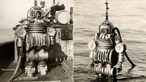 En 1900,on mit au point cette combinaison de plongée pesant 550 livres.