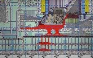 En rouge, les endroits où le corium se trouve, dans les entrailles du réacteur nr 4