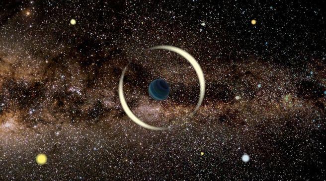 Une impression d'artiste d'un événement de microlentille gravitationnelle par une planète flottante, ou voyous. En microlentille, la gravité d'un objet fait plier la lumière d'une source de fond, un phénomène astronomique qui se manifeste par des distorsions dans les images prises depuis la Terre.