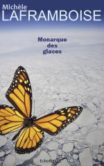 Couverture de Monarque des glaces: Un papillon cyborg survole une planète dévastée