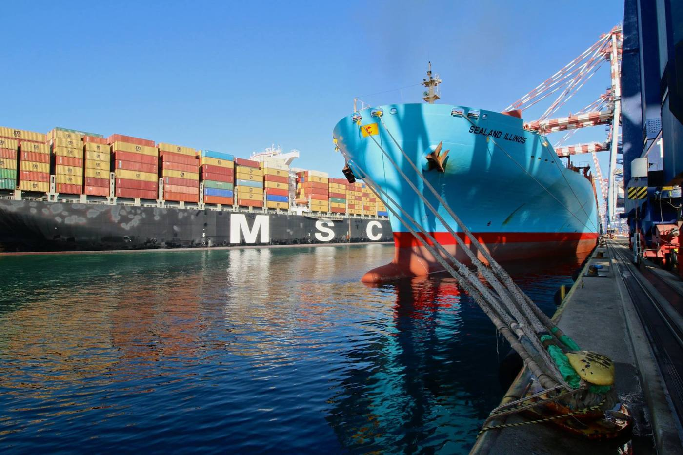 containerships docked at port