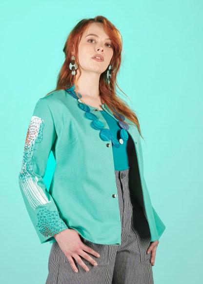 collier cuir bleu