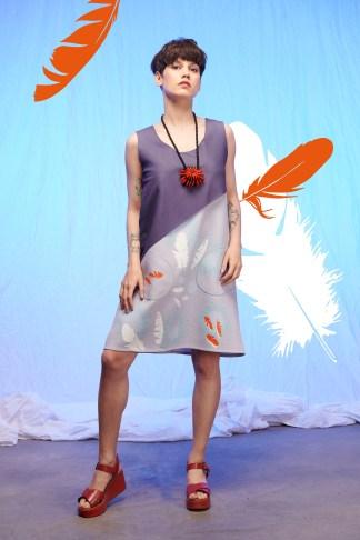 robe bicolore imprimée en sérigraphie