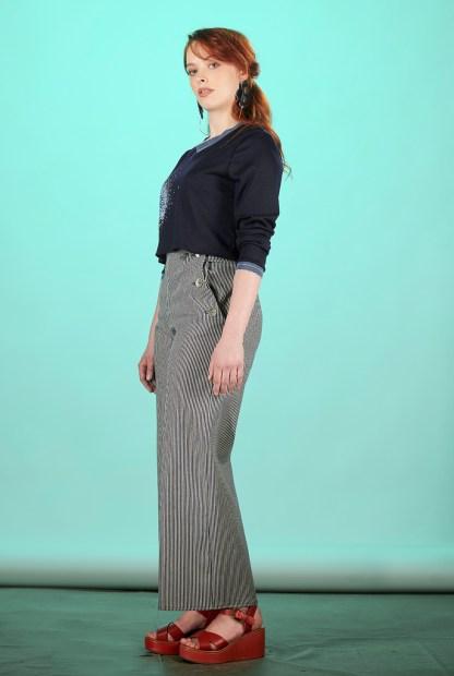 pantalon pont femme rayures fait main