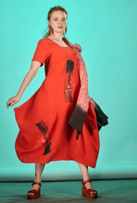 robe longue rouge fait main