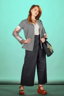 veste femme coton rayé imprimée et brodée