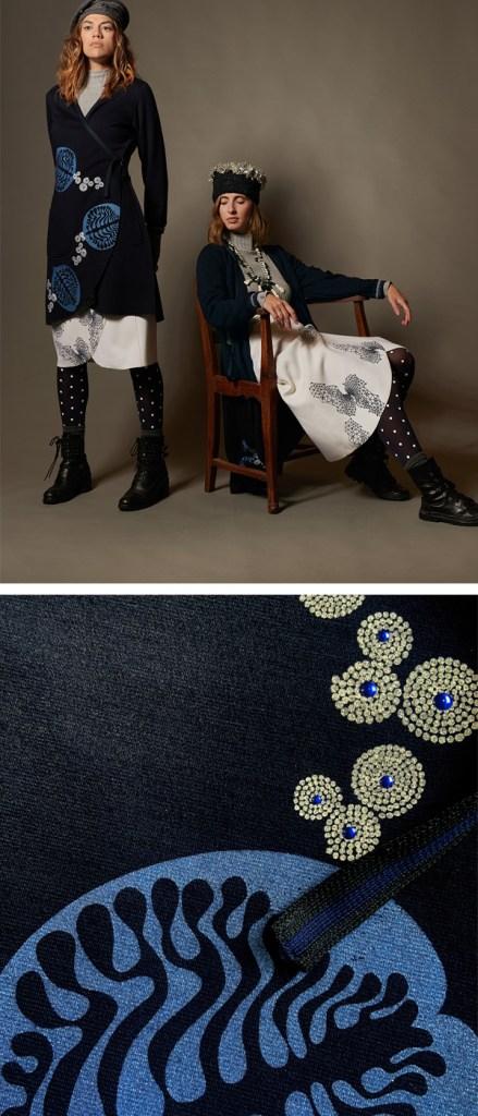 jupe-blanche-manteau-bleu-laine-imprimé-sérigraphie-hiver-2021-ichele-forest