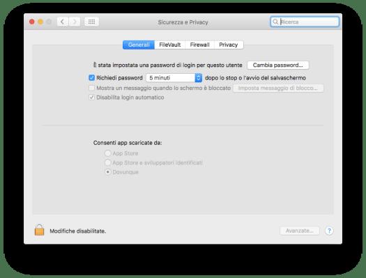 """Schermata che consente l'installazione di App da """"ovunque"""""""