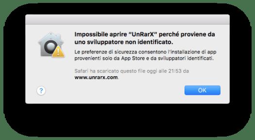 Avviso di impossibilità aprire App di sviluppatore non identificato