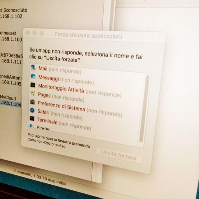 Mac OS bloccato: tutte le applicazioni non rispondono.