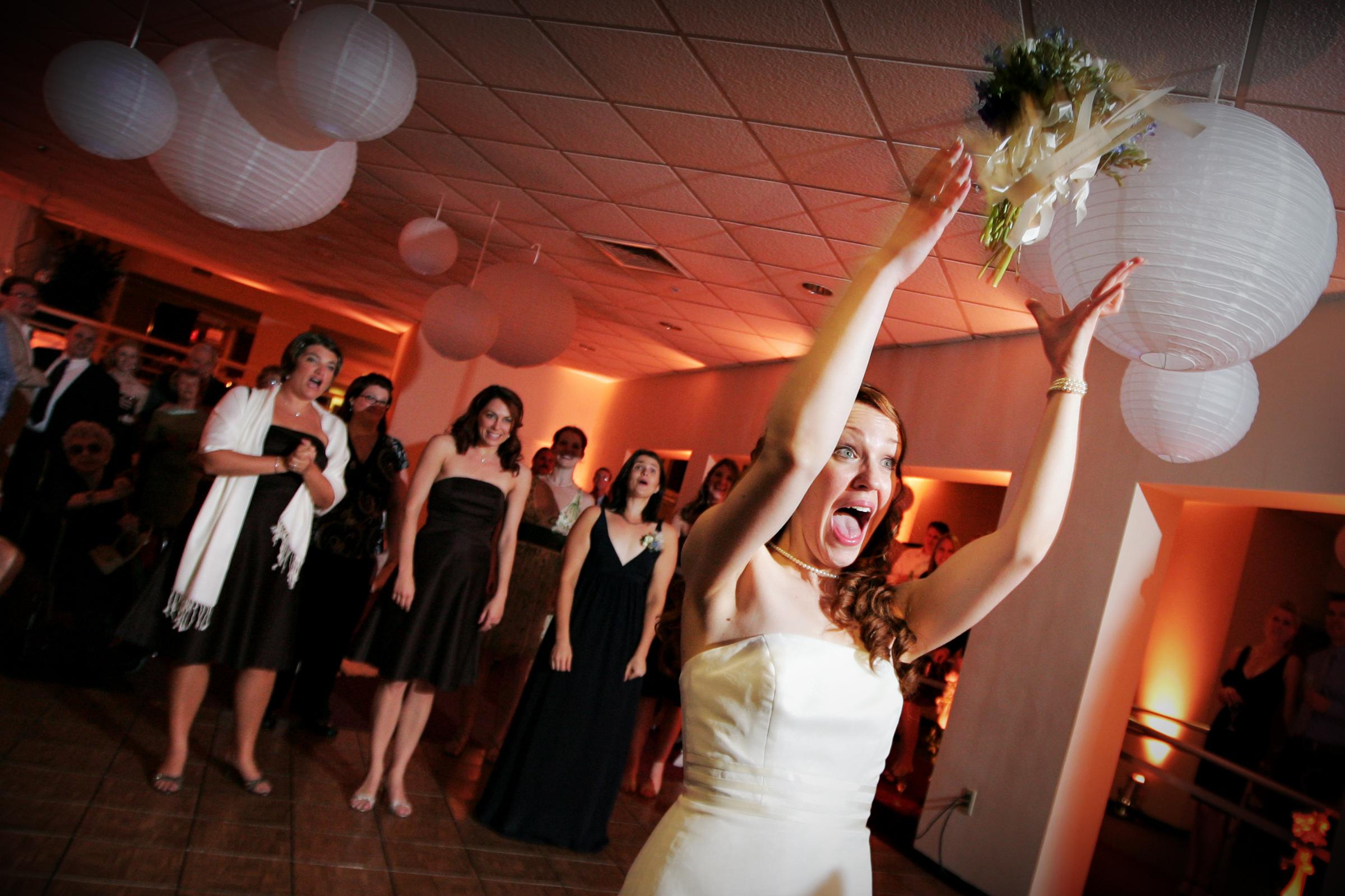 A toss to the bridesmaids