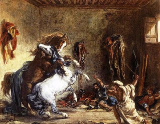 Arab Horses Fighting in a Stable,1860