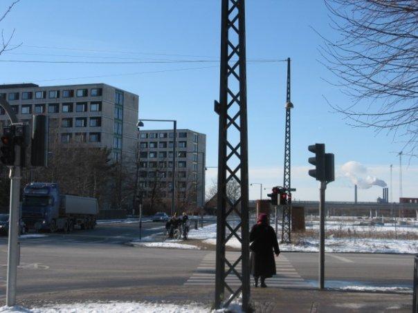 My Kollegiet (dorm) on a sunny snow day.