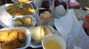 Our picnic. Yummy food.