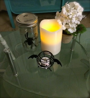 Spider in a Mason jar, bat candle holder