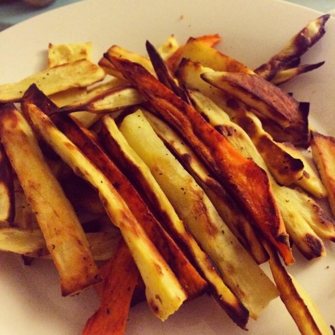 Homemade sweet potato fries. Yummy.