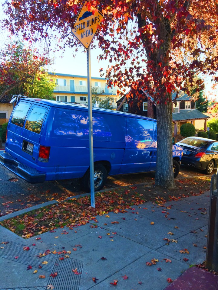 Bright blue van.