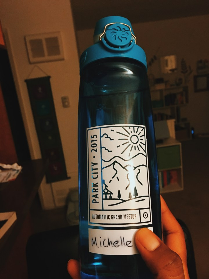 Lovely water bottle from the 2015 Automattic Grand Meetup in Park City.