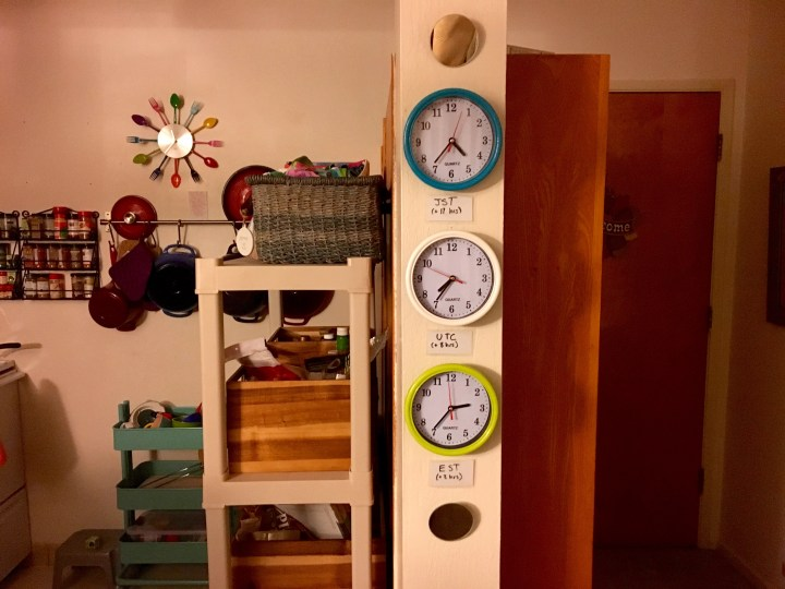 Time zone clocks I got from Daiso. JST (because one of my best friends lives in Japan), UTC, and EST. It's great when your colleagues and friends live in other time zones.