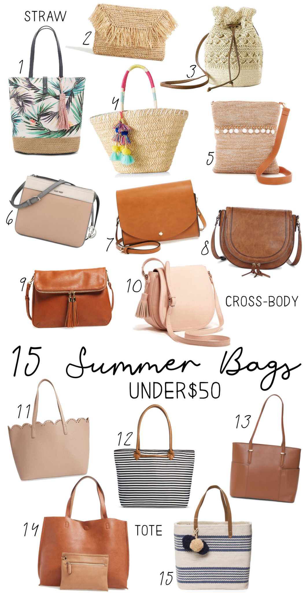 15 Summer Bags Under $50 - Affordable Straw Bags, Crossbody Bags, and Tote Bags!