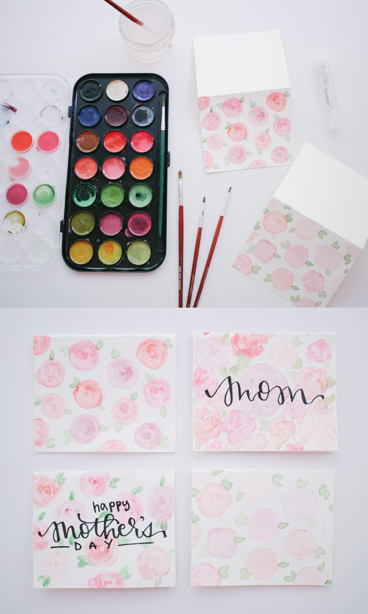 DIY Watercolor Card for Mother's Day, Floral Watercolor for Beginners