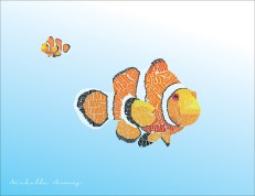 A clown fish made out of text