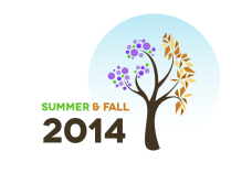 Seasonal graphic to advertise registration for summer and fall courses online at University College at Bath/Brunswick.