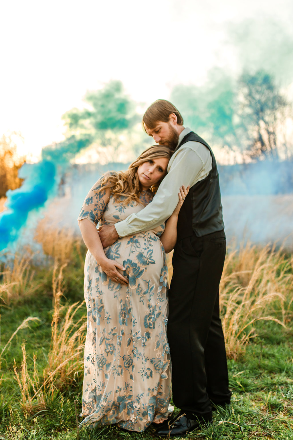 Franklin-Tennessee-Maternity-Styled-Floral-Dress-Field-Golden-Couple-Gender-Reveal-Smoke-Grenade