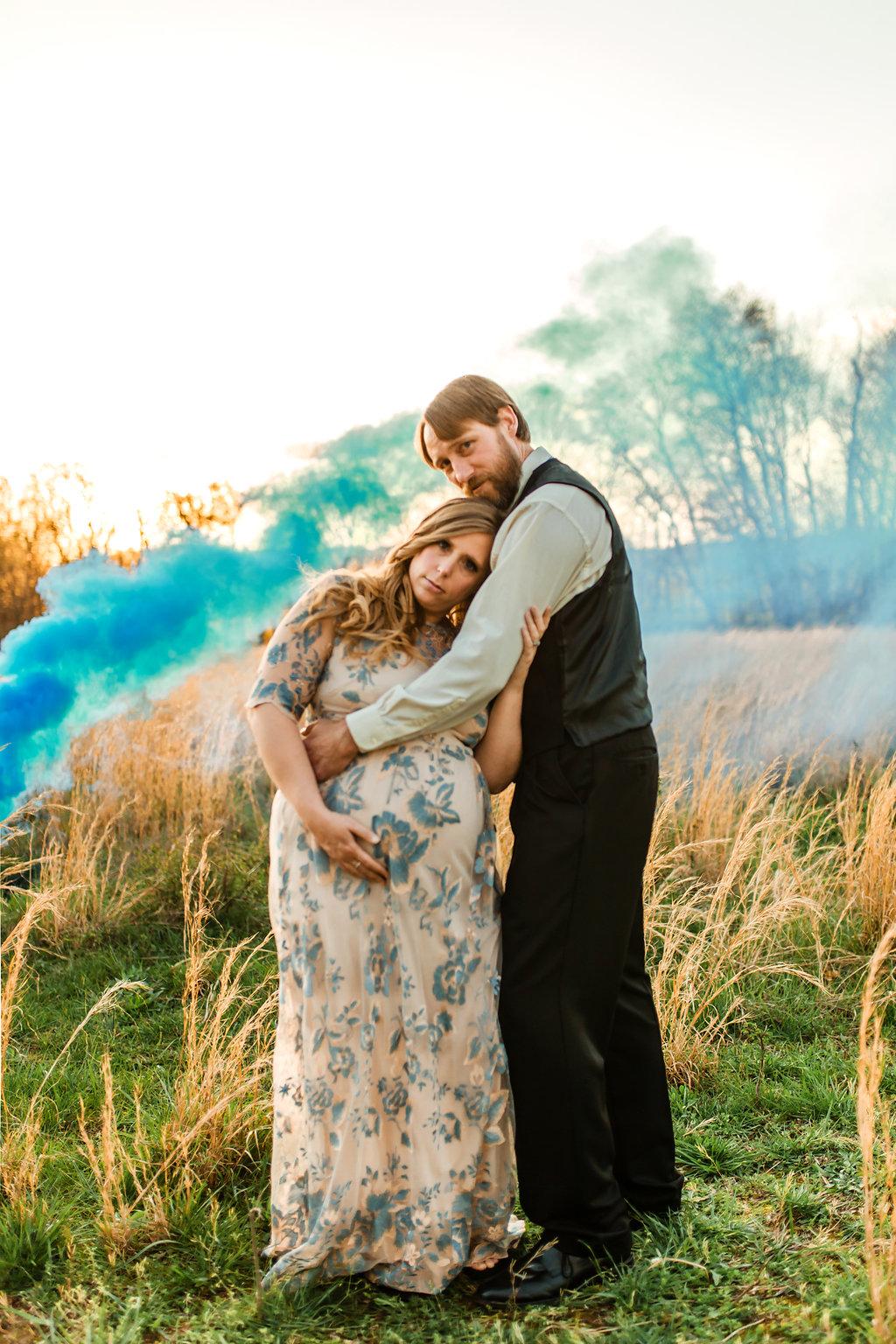 Franklin-Tennessee-Maternity-Styled-Floral-Dress-Field-Golden-Smoke-Grenade-Blue-Boy