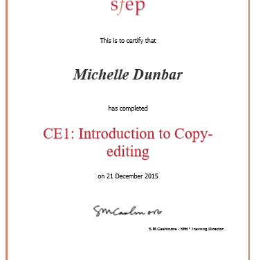 CE1: Introduction to Copy-editing (SfEP course) completed