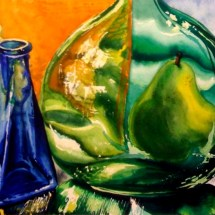Colored bottles watercolor painting by michelle east