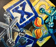 Double Play Blocks, Jacks and Marbles Acrylic Painting by Michelle East