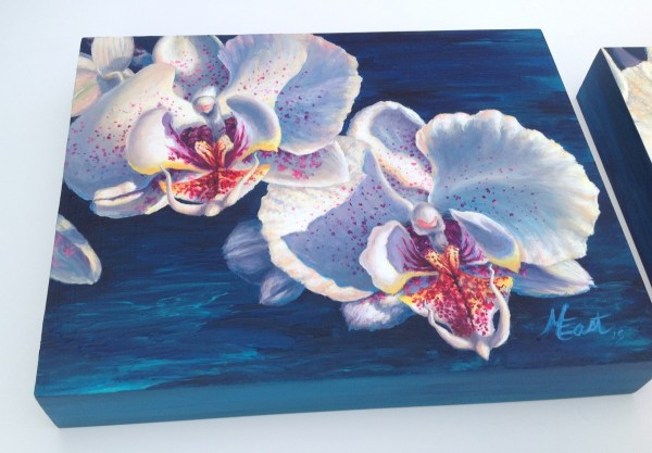 Two White Orchids Acrylic Painting by Michelle East