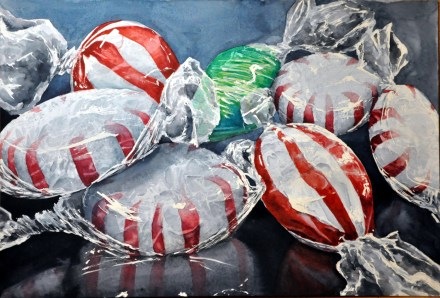 The green one Peppermints watercolor painting by Michelle East