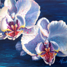 """Original 8x10"""" Two White Orchids Acrylic Painting by Michelle East"""