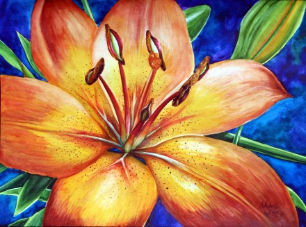 Gild the Lily Blue Stargazer watercolor painting by michelle east