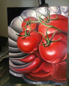 Tomatoes on a Silver Platter oil painting by Michelle C East