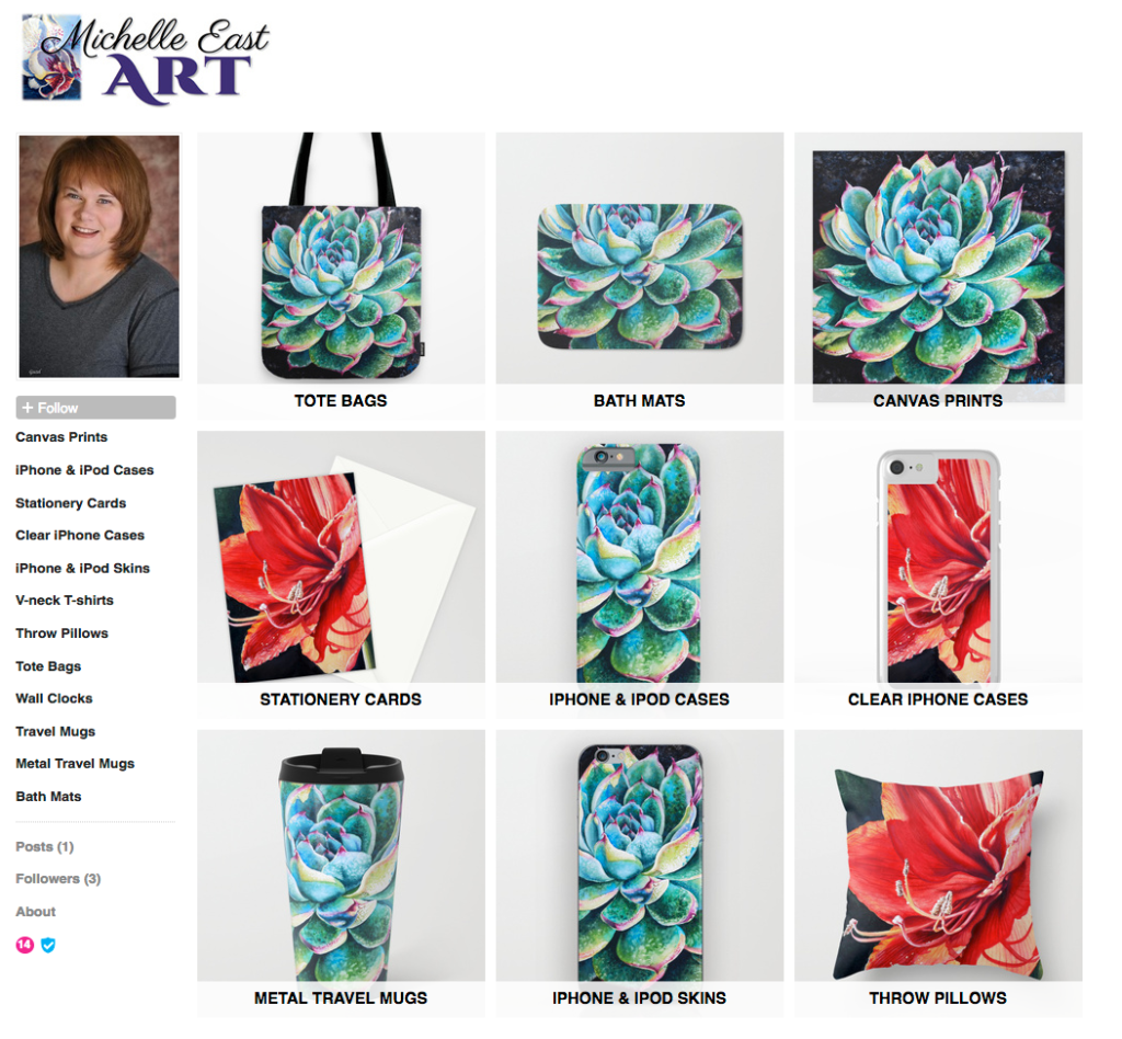 Society6 Michelle EAST shop