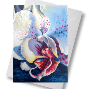 white orchid note cards